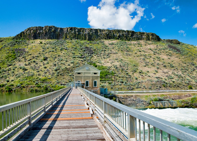 Bridge crossing the Boise River at the Diversion Dam near Boise Idaho