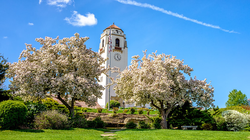 Boise Train Depot in Spring with Flowering Trees