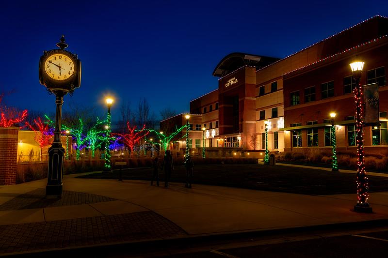 City Hall for Meridian Idaho with Christmas lights and clock