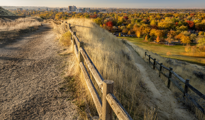 Path in the foothills over Boise Idaho with autumn colors