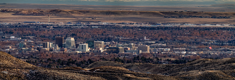 City of Boise Idaho in winter as seen from the foothills with American flag