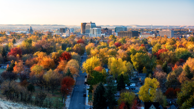 City of trees Boise Idaho skyline in full fall color