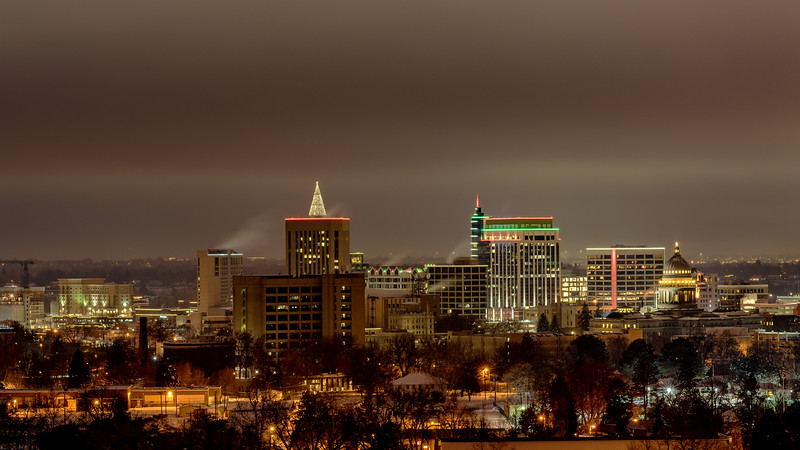 Boise city skyline in winter and at night