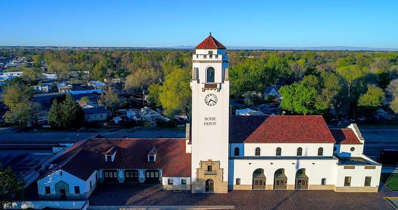 Aerial view of the train depot in Boise Idaho