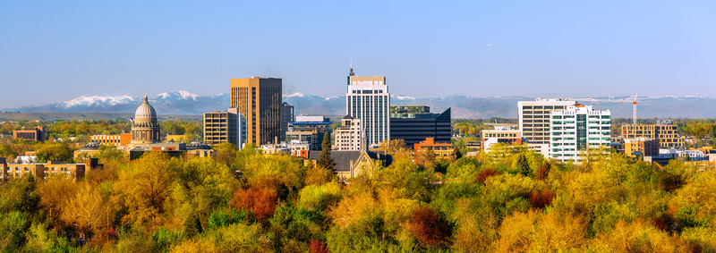 City of trees Boise Idaho in vivid fall color