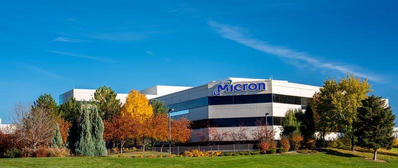 Micron front sign and park with autumn trees