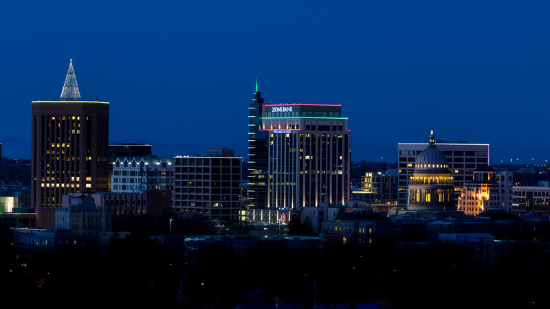 Close up of the Boise City skyline during blue hour