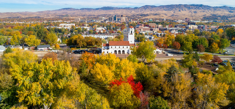 City of Boise Idaho skyline with fall colors and train depot