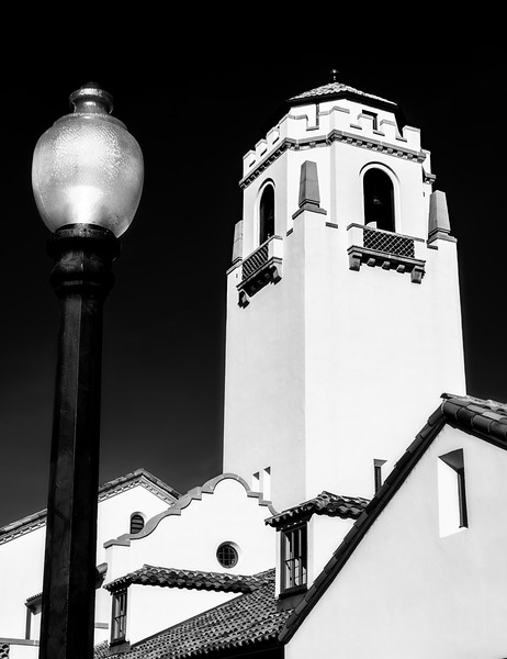 Black and White close up of bell tower on a local city train depot in Idaho