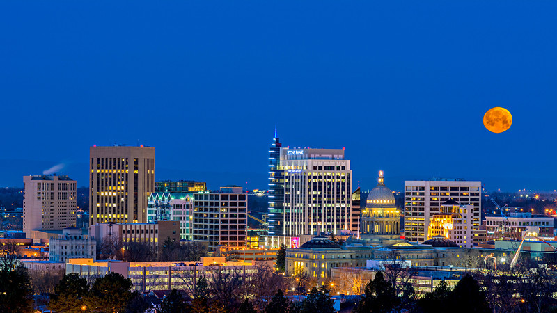 Boise at Night with a Full Moon