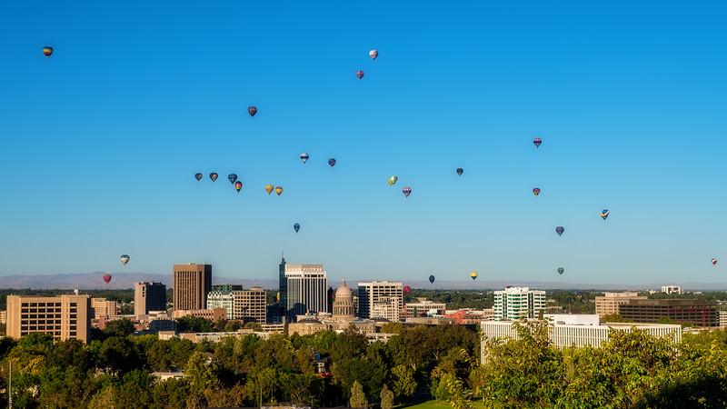 Hot Balloon festival on full display over the skyline of Boise Idaho