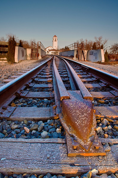 Frosted Train Tracks at the Boise Depot