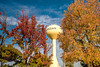 Autumn Trees and the Meridian, Idaho Water Tower