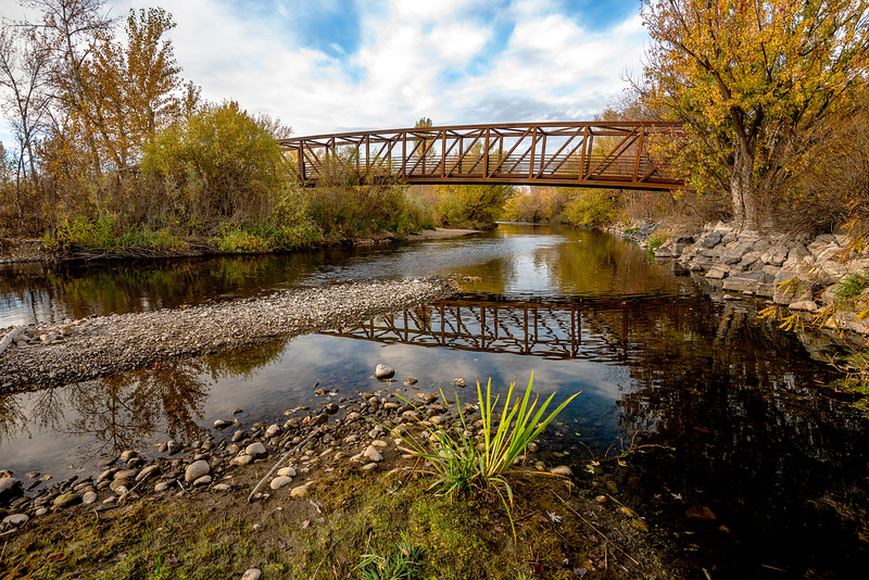 Bridge reflection in the Boise river fall