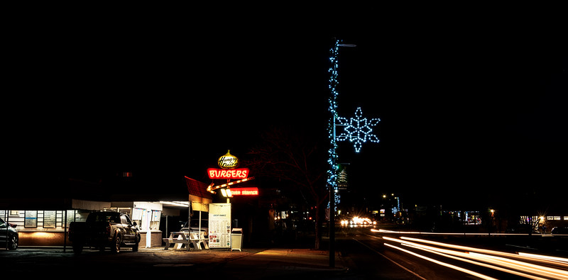Famous Meridian Idaho drive in restaurant at night with Christmas Lights