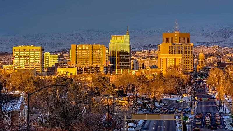 Sunset on the skyline of Boise, Idaho
