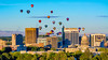 Hot air balloon festival over Boise skyline
