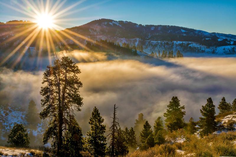 Sunrise near Bogus Basin with Inversion