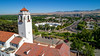 Stucco Clock tower and skyline of Boise Idaho in the summer