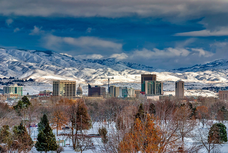 Snow covered town of Boise Idaho