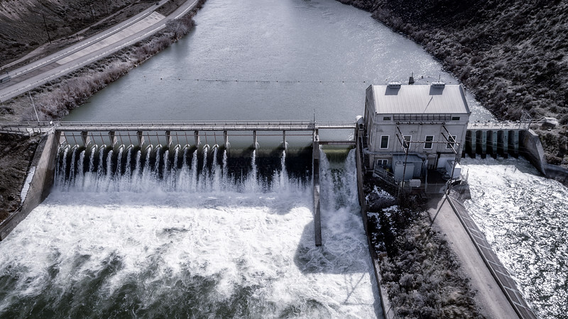 High water Diversion Dam aerial Boise River in Idaho