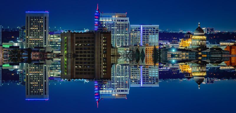 Boise Skyline mirror of itself at night