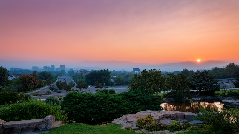 Forest fire smoke pollutes the sky above the Boise skyline