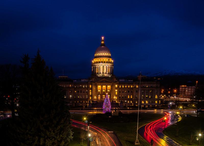 Boise Capital with Christmas Tree