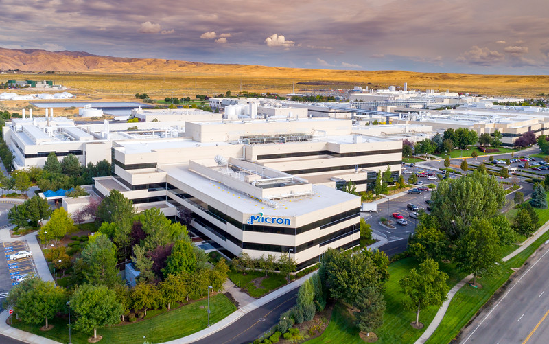 Semiconductor manufacturing facility Micron aerial view