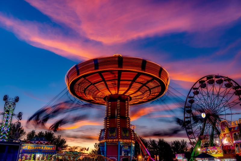 Fair rides at sunset in Boise Idaho