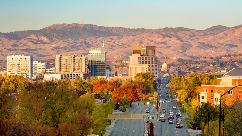 Boise Idaho Capital Boulevard Autumn Evening
