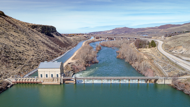 Unique view of the Diversion Dam on the Boise River High water