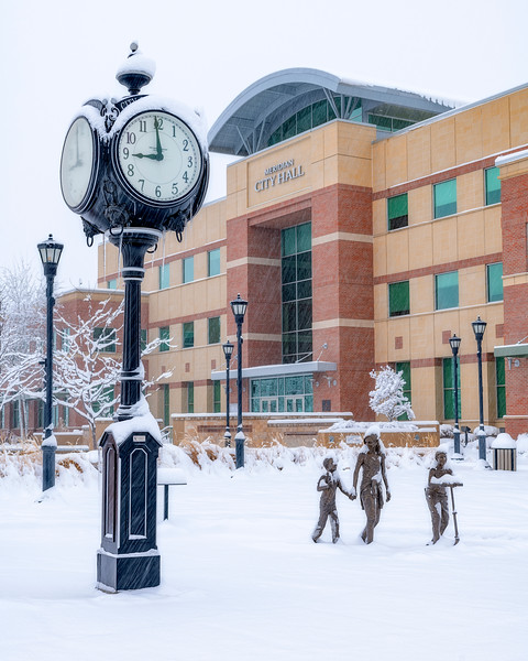 Meridian Idaho City hall in a winter storm