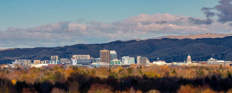 sunlit Skyline of Boise Idaho with some fall colors