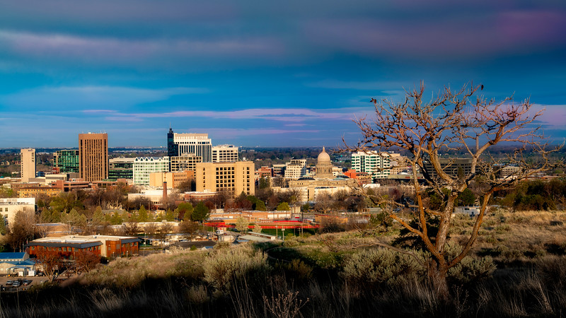 View of Boise Idaho in the warm light of morning from the foothills above