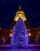 Close up of the Christmas tree in Boise Idaho on the State Capital steps at night