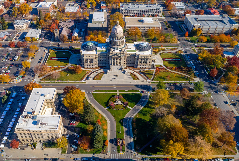 Idaho state capital aerial with fall tree colors