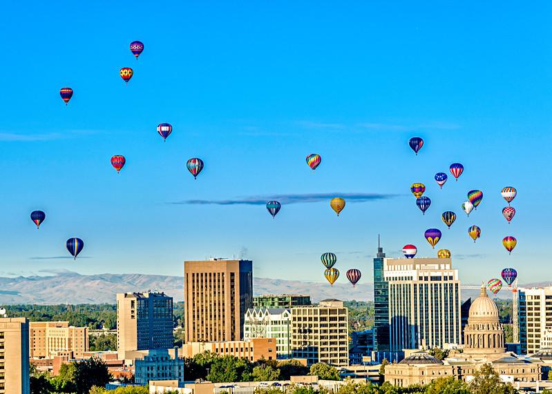 Boise Balloon Festival over the city of Boise