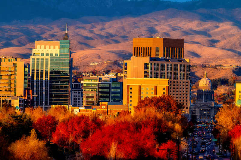 Close up of the Boise Skyline in fall evening part of the day