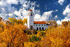Boise train depot in autumn colors and cloudy sky