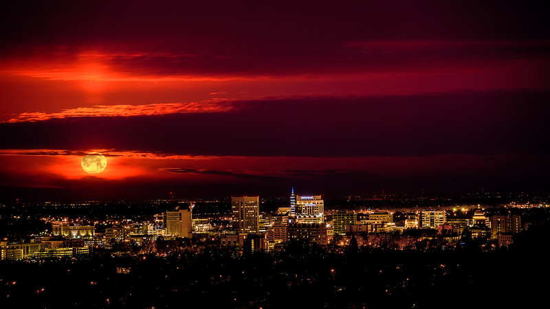 Boise City and full moon