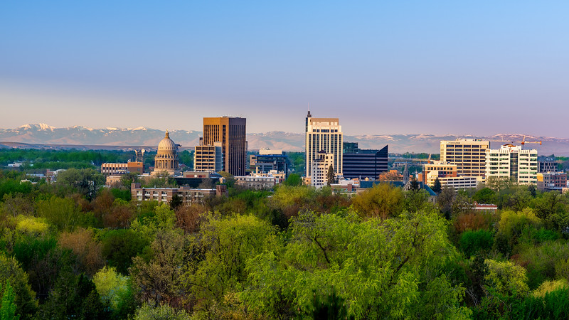 Early morning sunlight on the city of Boise Idaho