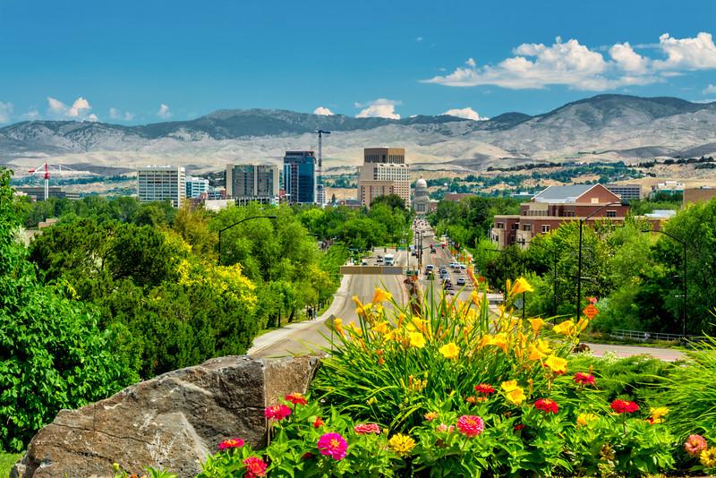 View down Capital Boulevard in Boise