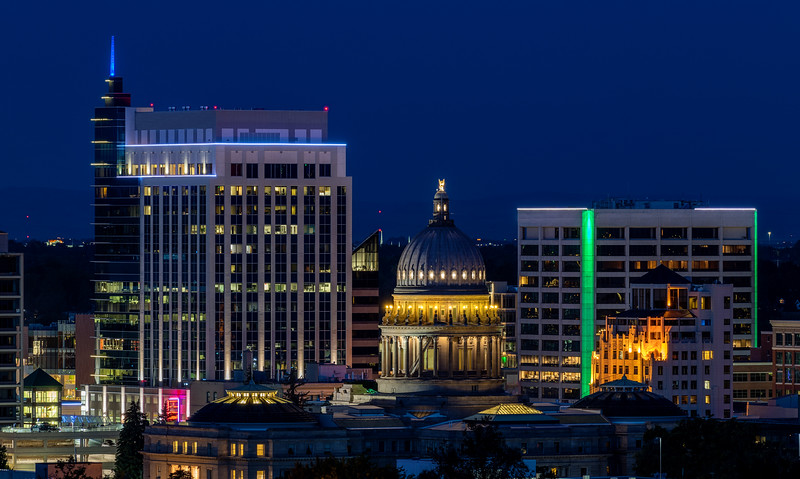 Idaho capital building and Boise at night with deep blue night sky