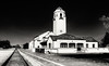 Train Depot in Black and white with dark sky