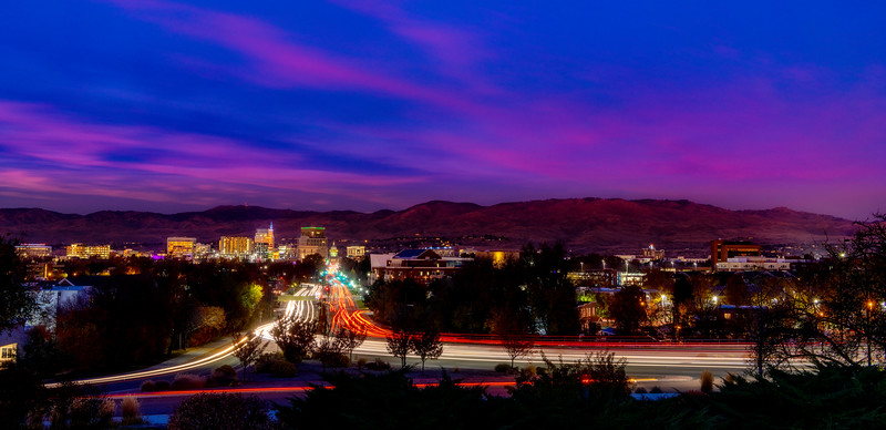Streaking car lights down Capital Boulevard Boise Idaho