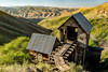 Adelmann Historic Gold mine building and Boise River valley