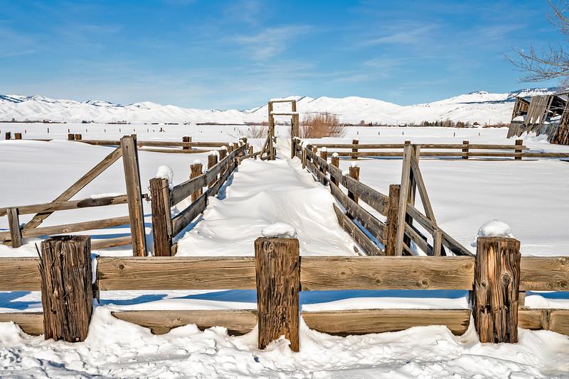 Textured Snow around Farm Corral