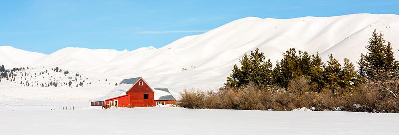 Farmer's Red Barn near Fairfield, Idaho