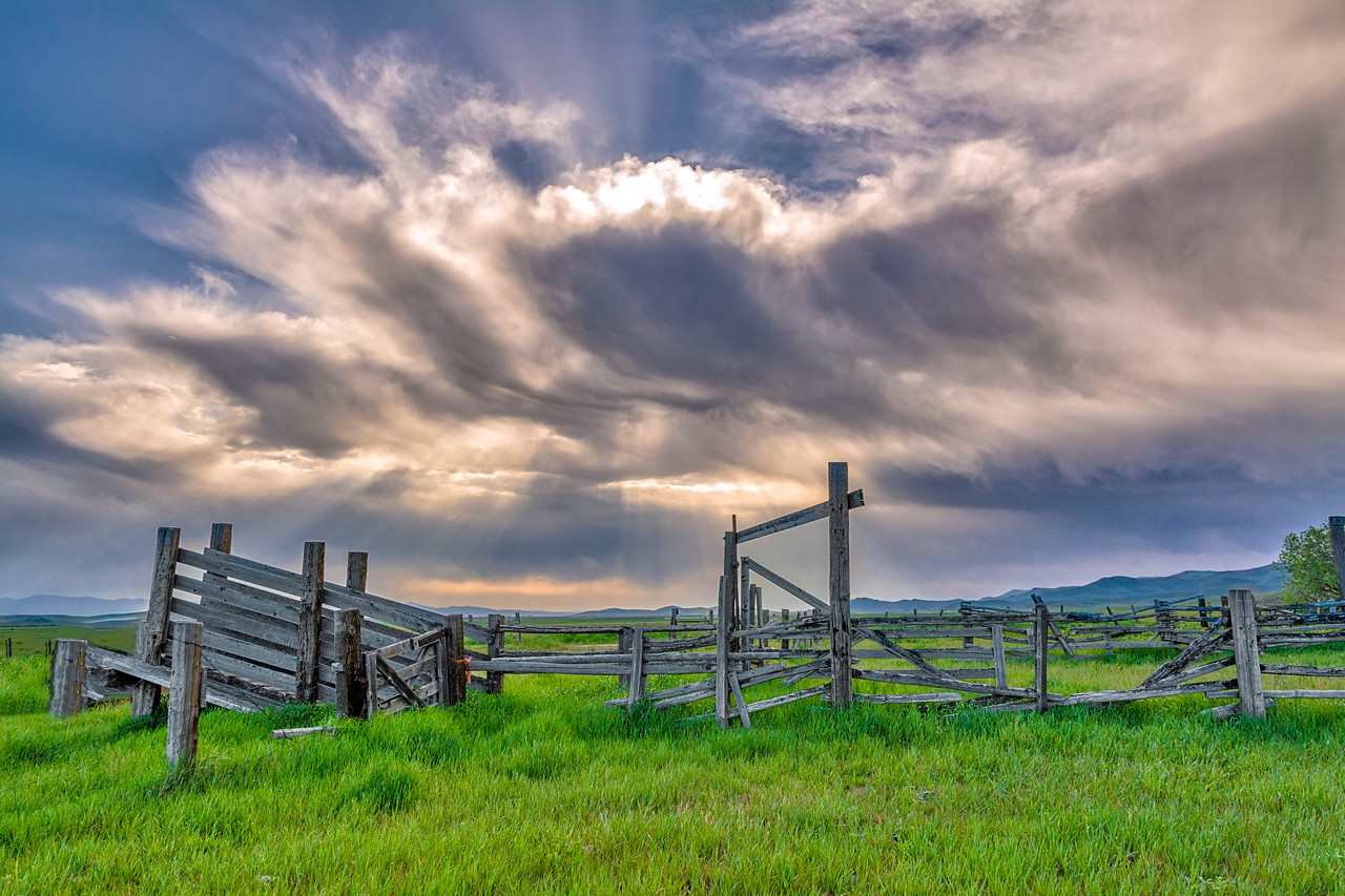 Fence with Dramatic Clouds